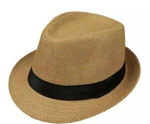 Unisex Summer Straw Fedora Hat Trilby Cuban Sun Cap Panama Short Brim Paper Hat