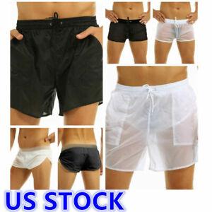 Mens Quick Dry Beach Swim Shorts See Through Boxer Briefs Trunks Underwear Pants