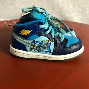 Jordan 1 Fly Youth Toddler Size 7C Basketball Shoes Blue White Mid Top Sneakers