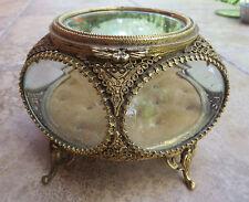 French Pentagon Shape Vintage Filigree Vitrine Beveled Glass Casket  Jewelry Box