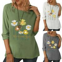 Women's Daisy Floral Long Sleeve Tops Tunic T Shirt Casual Blouse Tee Plus Size