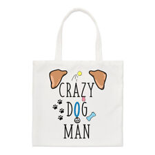 Crazy Dog Hombre Small Tote Bag-Cachorro Gracioso Shopper Hombro