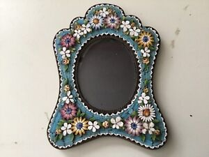 Antique Micro Mosaic Dimensional Flower Picture Frame