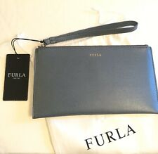 NEW FURLA BLUE GREY Leather Wristlet Clutch Slim Bag Small Purse Pouch Italy
