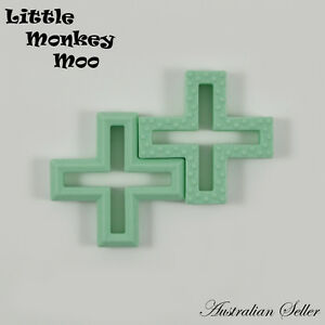1 Mint Swiss Cross Silicone Teething Toy Ring Chew Teether BPA Free Aust Seller
