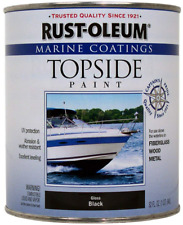 Rust-Oleum Marine Topside Paint Black 1-Quart Fiberglass Metal Wood New