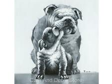 Bulldog Mother & Puppy Stretched Canvas Oil Painting Picture Wall Art 70 cm