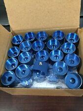 "60x Blue Aluminium Control Knobs: 1/4"" dia shaft & grub screw (Brand New Boxed!)"