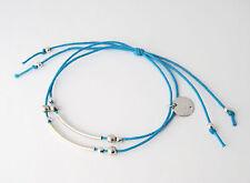 Bracelet cordon réglable traits incurvés et perles en argent 925/1000 BC01