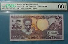 1986 Suriname 100 Gulden PMG66 EPQ GEM UNC <P-133a>