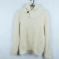 HENRI LLOYD Mens Beige Chunky Lambswool Button Neck Henley Jumper SIZE Medium, M