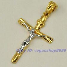 "2.05"" REAL STYLISH 18K YELLOW WHITE GOLD GP CROSS JESUS PENDANT SOLID FILL vp5"