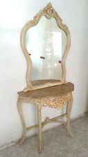 Console in Legno Massello Top in Marmo e Specchio - Avorio Anticato e Foglia Oro