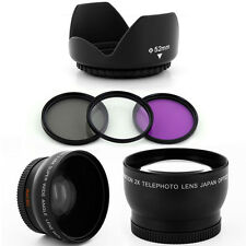 52mm Wide Angle Tele Lens Kit, Filters,Hood for Nikon D50 D60 D70 D100 18-55mm