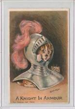 SIGNED WAIN A KNIGHT IN ARMOUR CAT DOG POSTCARD 1904 HARD TO FIND