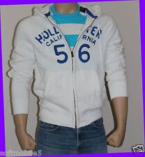 Hollister Co. Men's XTRA LARGE XL White Hoodie Full Zipper Blue Logo Embroidery