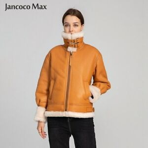 Women Genuine Leather Jacket Winter Shearling Coats Lamb Fur Wool Overcoat 33628