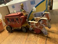 Vintage Fisher Price #175 Wood Pull Toy Gold Star Line STAGECOACH 1954