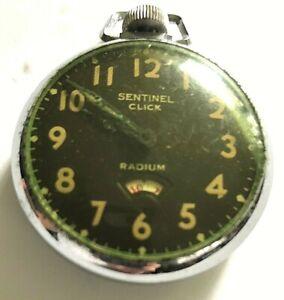 VTG Antique 16-18 Size SENTINEL CLICK RADIUM Pocket Watch parts/repair