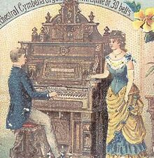 1880s NEWHAVEN CT SHONINGER ORGAN & PIANO CO TRADE CARD, ORNATE W/ FACTORY TC867