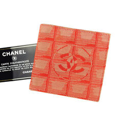 Chanel Wallet Purse Bifold New travel line Red Woman unisex Authentic Used T3038