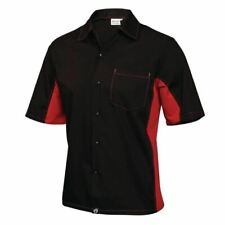 More details for chef works unisex contrast shirt in black & red - polycotton with pocket