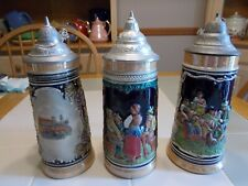 New listing Lot Of3 Vintage Lidded Ceramic German Beer Stein-Dbgm,Hunter With Fox Cubs Etc S