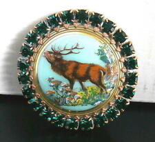 Vintage Style Czech ALL Glass Rhinestone HAT Pin #T071 - DEER - SIGNED