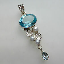 Blue Quartz Pearl Topaz Solid 925 Sterling Silver Pendant Gemstone Jewellery