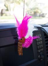 """Koa Wood Tiny Miniature Hawaiian Ikaika Makaki'i 0.75"""" Helmets Pink & White"""