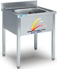 Lavello cm 80x60x85 in Acciaio Inox 100% AISI 304 Lavatoio 1 Vasca Professionale