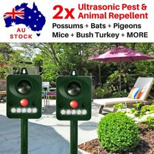 2 x ULTRASONIC PEST REPELLENT POSSUMS PIGEONS SNAKES WEATHERPROOF SOLAR POWERED