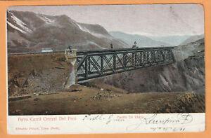 Peru 1905 Railroad Postcard Mailed