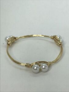 Bourbon And Bowties Inspired Bracelet gold tone Faux Pearl Clusters