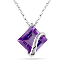 Amour 10k White Gold Square Amethyst Necklace