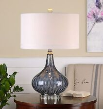 Dark Purple Clear Glass Table Lamp | Nickel White Shade