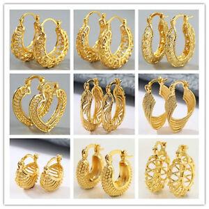 18K Yellow Gold Filled Wedding Bridal Ear Stud Hoop Dangle Earring Women Jewelry