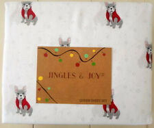 """French Bulldog Queen Sheet Set Christmas with Winter Sweaters 17"""" Deep Pocket"""