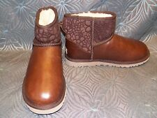 New Womens UGG Classic Mini Floral Lace Stout Brown Sheepskin Winter Warm Boots