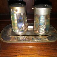 Vintage MEXICO ALPACA SILVER & ABALONE Salt & Pepper Shakers with Tray