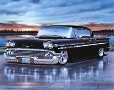 1958 Chevy Impala 2 Door Hardtop Classic Car Art Print 11x14