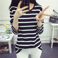 Women Black And White Striped Slim Fit Bottom T Shirt Long Sleeve Blouse Tops