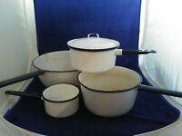 White Porcelain Enamel Ware Lot 4 Pots 1 lid Vintage  Enamelware