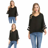 Fashion Womens Blouse 3/4 Sleeve V-Neck Loose Casual Summer Tops T Shirt Tunic