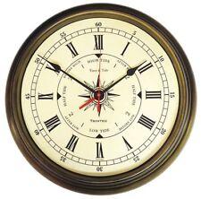 """TRINTEC  COM-02 14"""" Antique Brass Time & Tide Clock"""