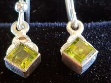 peridot solid 925 sterling silver  hook type earrings