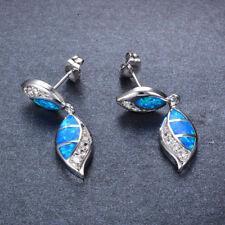 Ohrstecker Ohrring Blatt Baum Opal Feueropal blau Kristall weiß versilbert