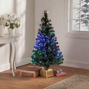 4-Foot Tall Space Saving Fiber Optic Merry Christmas Tree