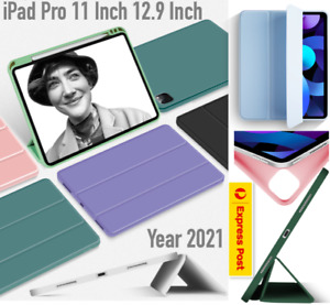 Year 2021 iPad Pro 12.9 inch Pro 11 inch Smart Cover Pencil Holder Case TPU Back