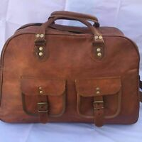MENS LADIES LEATHER HOLDALL TRAVEL GYM DUFFLE SPORTS CABIN BAG GOAT HIDE LEATHER